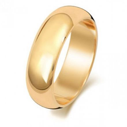 Yellow GOLD WEDDING RING 9K D SHAPE 6 MM, W106M